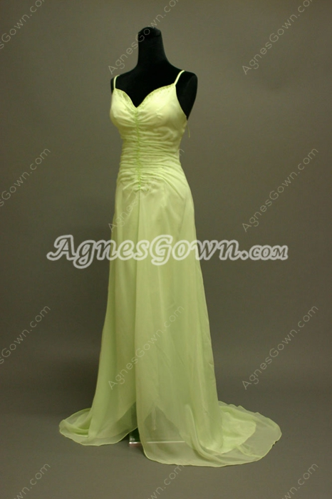 Elegant Lime Green Chiffon Spaghetti Straps Long Evening Dress