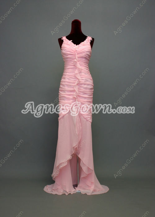 Traditional Pink Chiffon Mother of Groom Dress