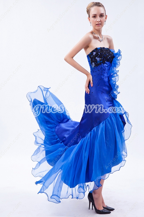 Special Royal Blue & Black High Low Prom Dress