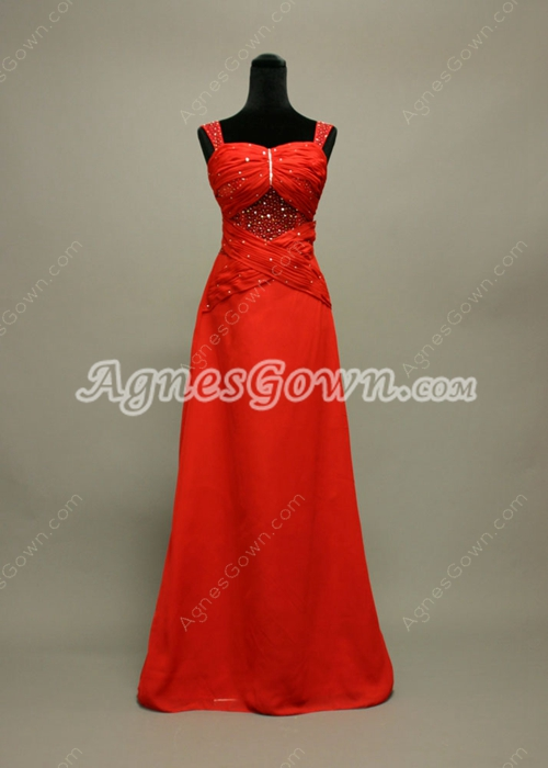 Sexy Illusion Red Evening Dresses