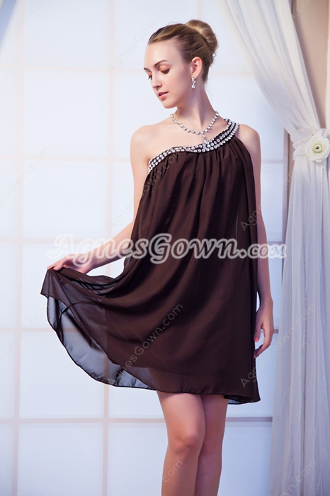 Column Mini Length One Shoulder Homecoming Dress