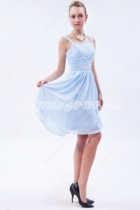 Cute Knee Length Light Sky Blue Junior Bridesmaid Dress