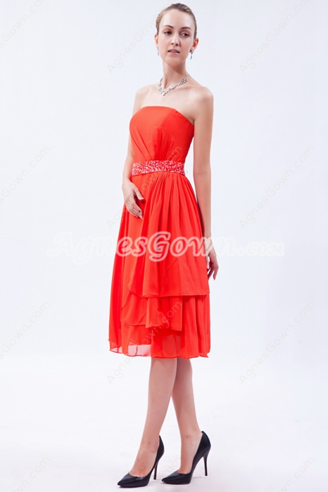 Lovely Strapless Knee Length Orange Chiffon Prom Dress For Juniors
