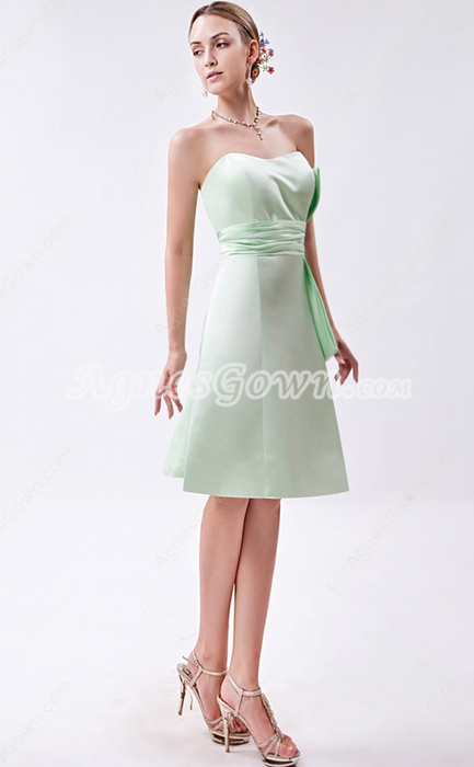 Knee Length Sage Bridesmaid Dress