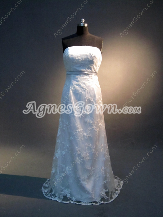 Simple Strapless Lace Wedding Dresses With Sash