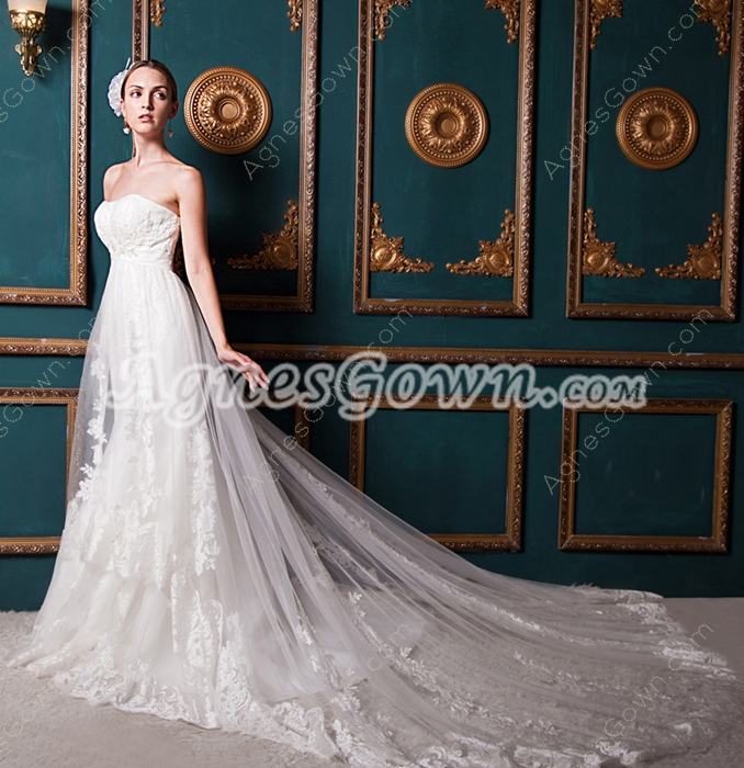 Chapel Train Ivory Lace Wedding Dress