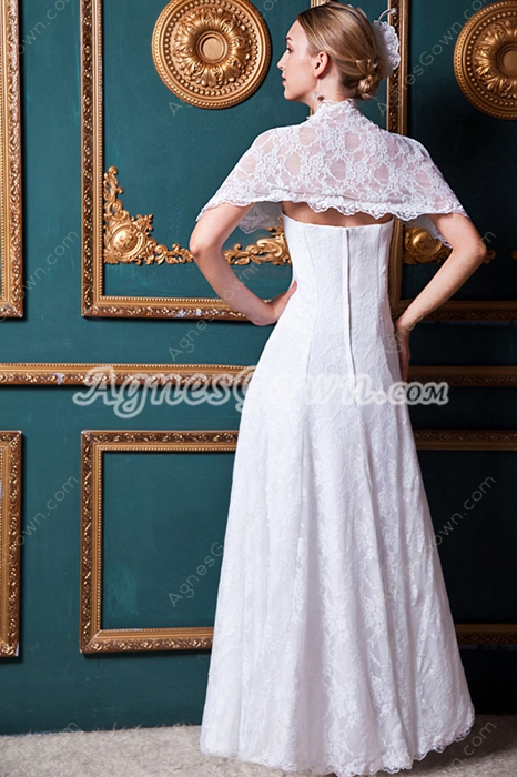Vintage Lace Wedding Dress With Shawl