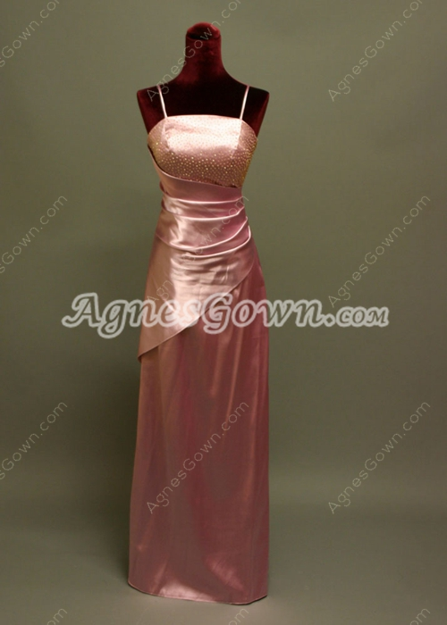 Spring Spaghetti Straps Pink Bridesmaid Dresses With Beading