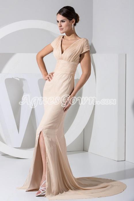 Short Sleeves Champagne V-Neckline Mother Of The Bride Dress
