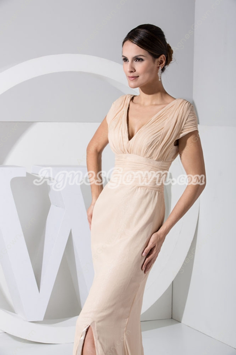 Short Sleeves Champagne V-Neckline Mother Of The Bride Dress