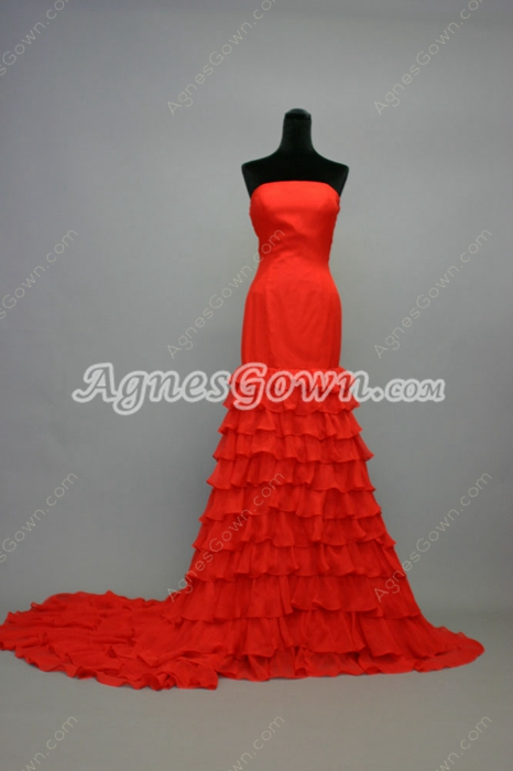 Unique Red Chiffon Strapless Country Wedding Dresses