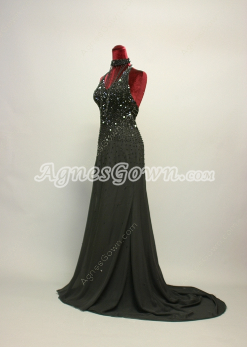 Traditional Black Halter Evening Dresses With Beaded Bodice