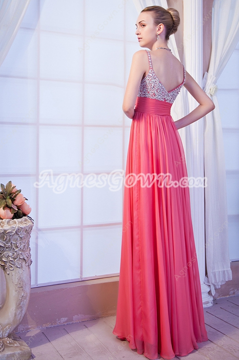Luxury Spaghetti Straps Watermelon Chiffon Junior Prom Dress With Beads