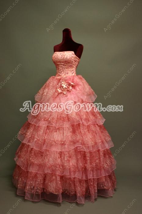 Beautiful Peach Princess Quinceanera Dresses