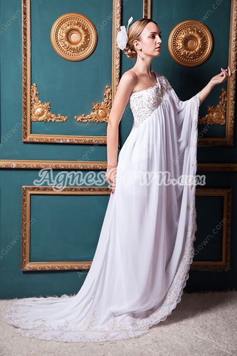 Special One Shoulder Maternity Wedding Dress