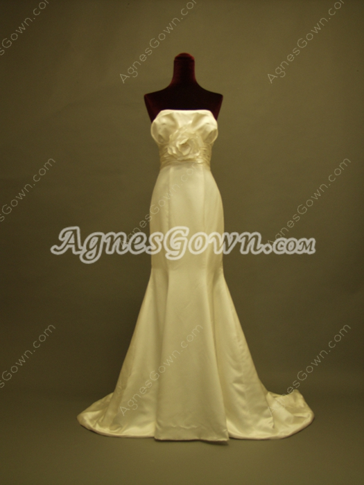 Beautiful Strapless Satin Trumpet Wedding Gowns