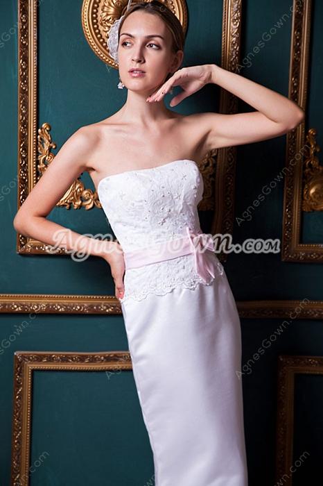Noble Sheath Full Length Satin Wedding Dress With Lace