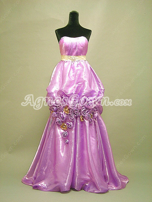 Unique Lilac Marine Ball Dresses With Handmade Flowers
