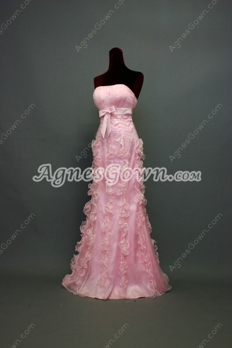 Glamorous Pink Strapless Long Homecoming Dress With Ruffles