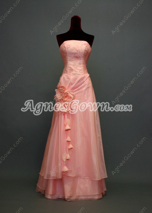 Simple Coral Military Ball Dresses With Flowers