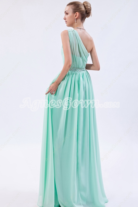 Sassy One Shoulder Column Tiffany Green Bridesmaid Dress With Diamonds