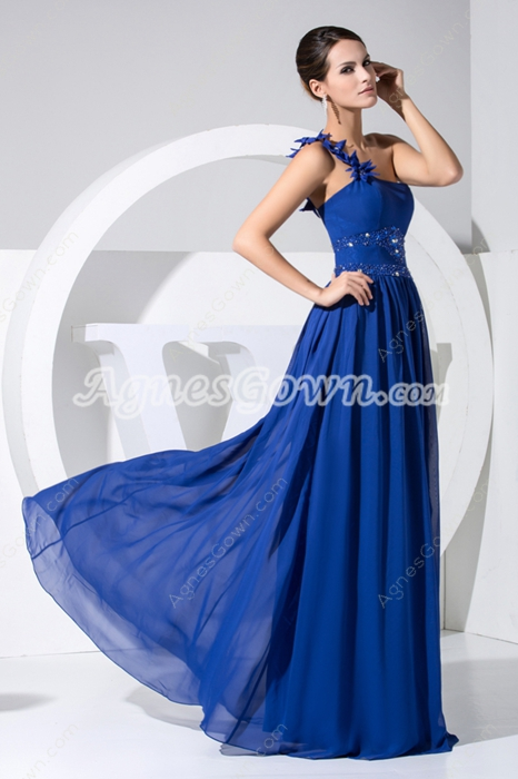 Elegant Royal Blue One Shoulder Marine Ball Dresses With Beads