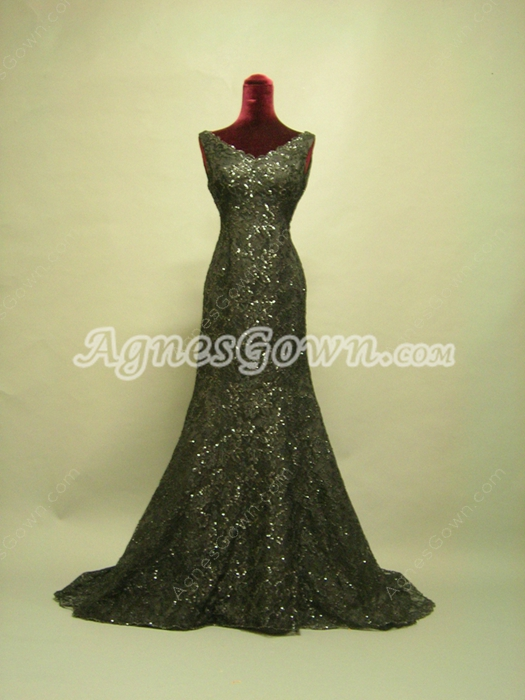 Charming Black Lace V-Neckline Mother Of The Bride Dresses With Sequins