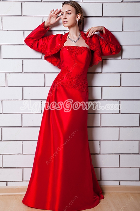 Long Sleeves Jacket Red Mother Dress