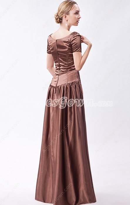 Short Sleeves Scoop Neckline Brown Mother Of The Bride Dress