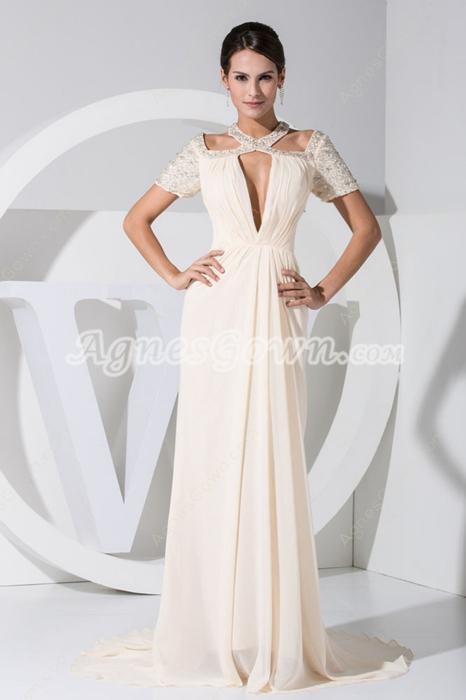 Short Sleeves Jewel Neckline Light Champagne Mother Dress