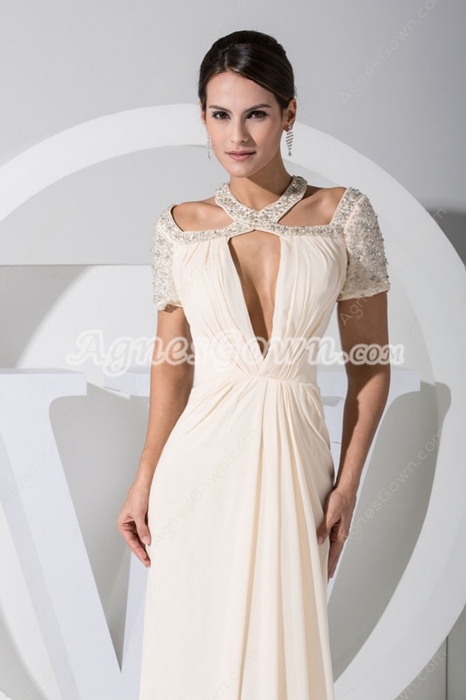 Short Sleeves Jewel Neckline Light Champagne Mother Dress