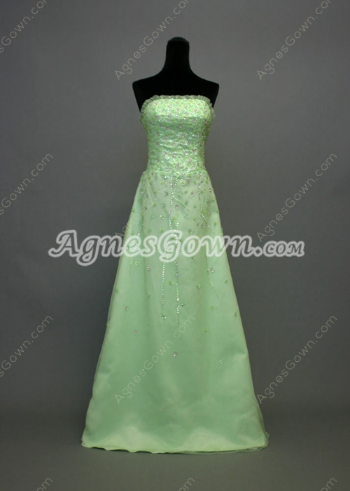 Exquisite Strapless A-line Mother of Bride Dress