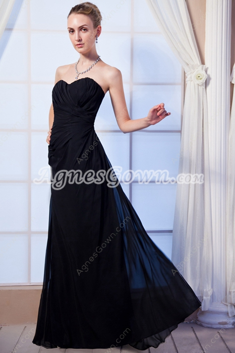 A-line Black Chiffon Prom Party Dress For Pageant