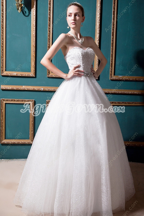 Luxury Beaded Ball Gown Wedding Dress