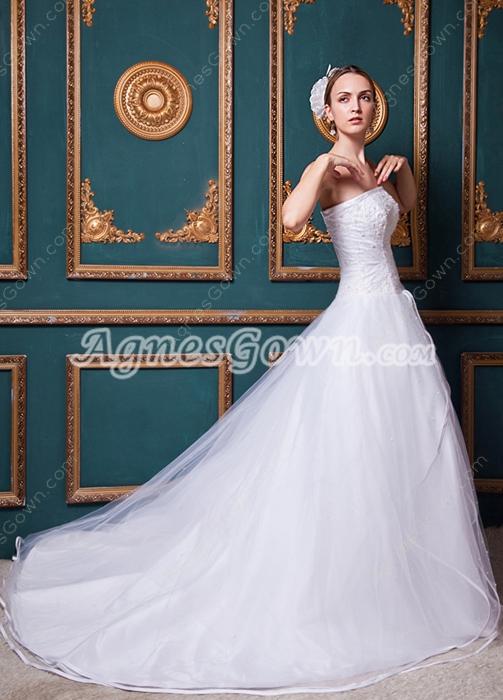 Pretty Beaded Princess Wedding Dress Corset Back