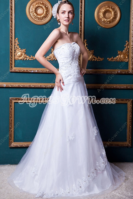 Casual Strapless Lace Bridal Dress