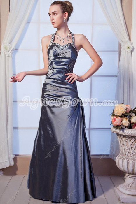 Backless Halter Silver Grey Taffeta Prom Dress