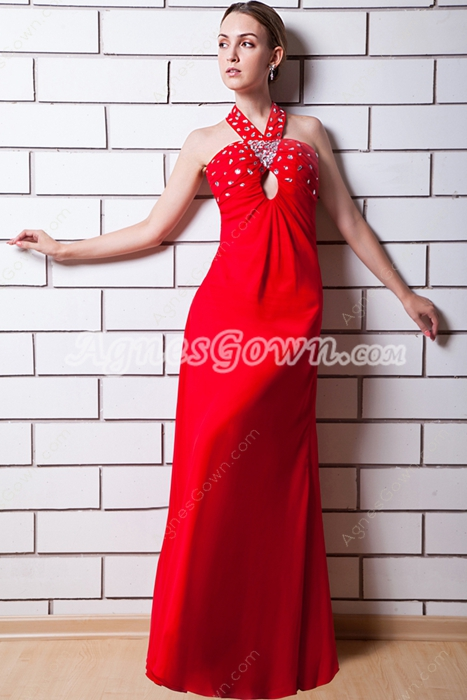 Cut Out Straps Column Full Length Red Graduation With Diamonds