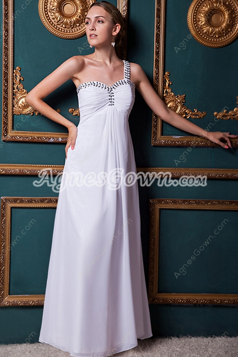 One Straps A-line White Chiffon Casual Beach Wedding Dress