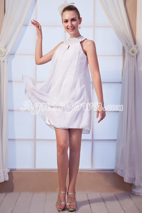 Mini Length Jewel Neckline White Homecoming Dress