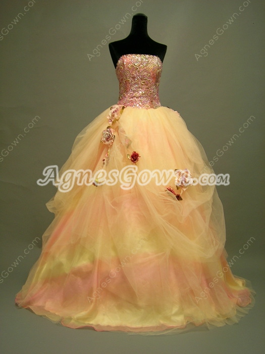 Unique Coral Quinceanera Dress