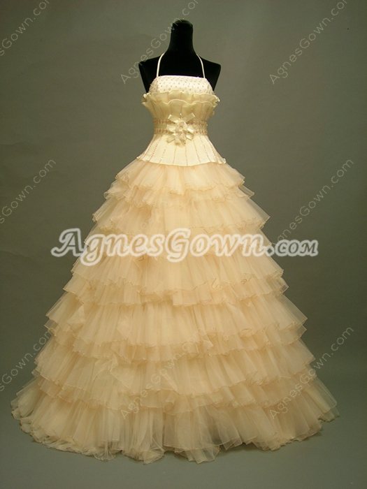 Pretty Halter Champagne Puffy Sweet 15 Gowns