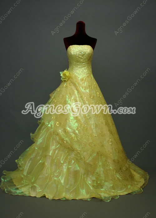 Beautiful Lemon Yellow Princess Quinceanera Dress