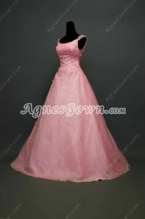 Chic Pink Tulle Scoop Sweet XV Dresses With Beads
