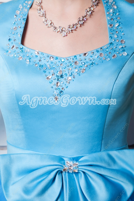 Short Sleeves Puffy Blue Sweet Sixteen Dress Long Length