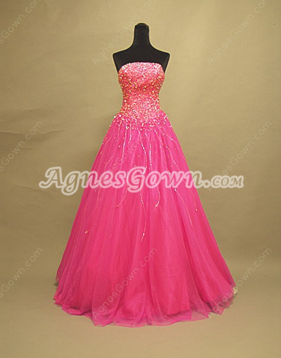 Terrific Strapless Fuchsia Quinceanera Dresses With Beaded Bust
