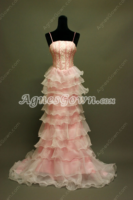 Lovely Spaghetti Straps Pink Organza Graduation Dress