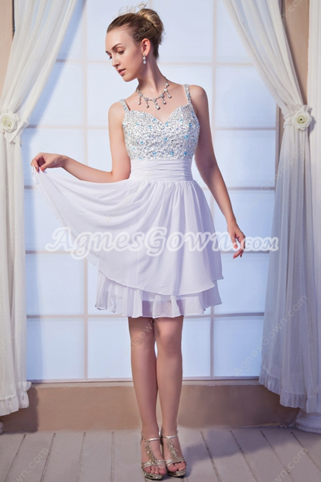 Cute Mini Length White Homecoming Dress With Beaded Bust