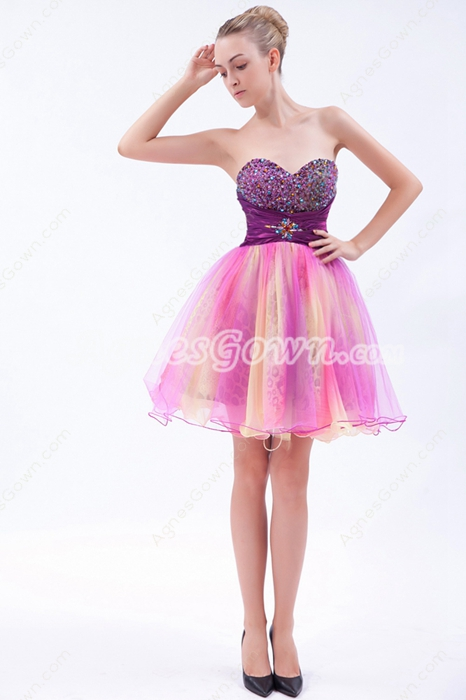 Lovely Colorful Mini Length Rainbow Quince Dress For Damas