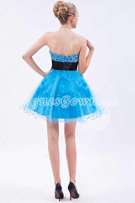Lovely Turquoise Puffy Mini Length Sweet Sixteen Dress
